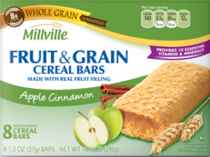 Millville Fruit and Grain Cereal Bars Apple Cinnamon