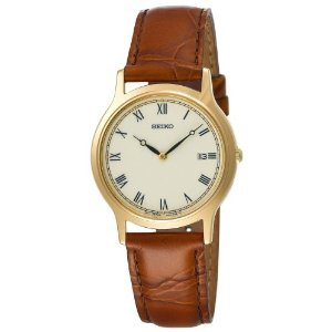 Seiko Men's SKP332 Brown Leather Strap Dress Watch